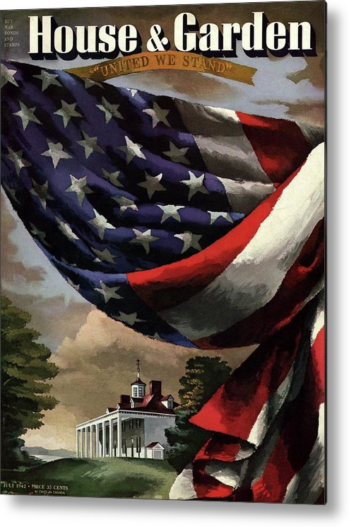 Illustration Metal Print featuring the photograph A House And Garden Cover Of An American Flag by Allen Saalburg