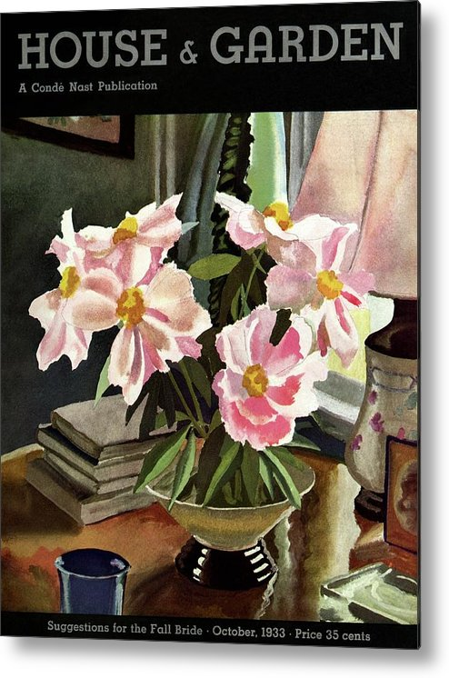 Illustration Metal Print featuring the photograph A House And Garden Cover Of Rhododendrons by David Payne
