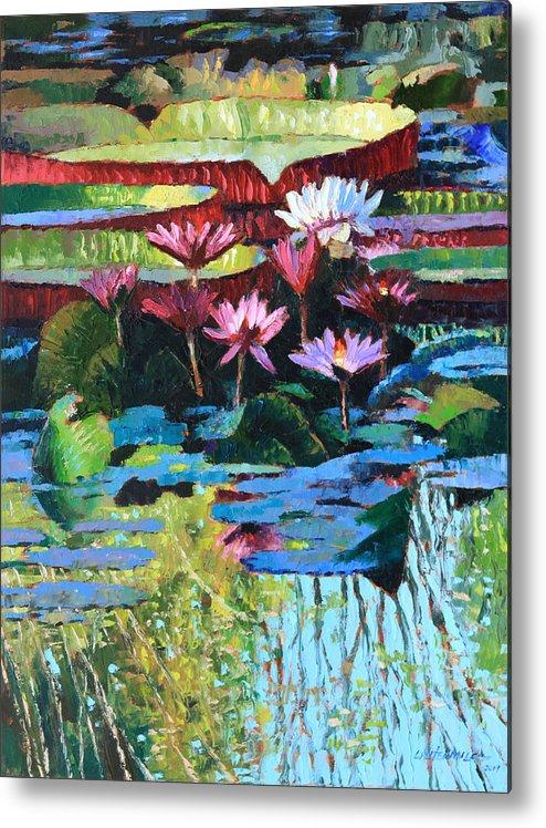 Garden Pond Metal Print featuring the painting A Splash of Sunlight by John Lautermilch
