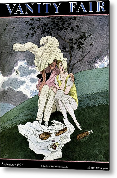 Illustration Metal Print featuring the photograph A Vanity Fair Cover Of A Couple Picnicking by Pierre Brissaud