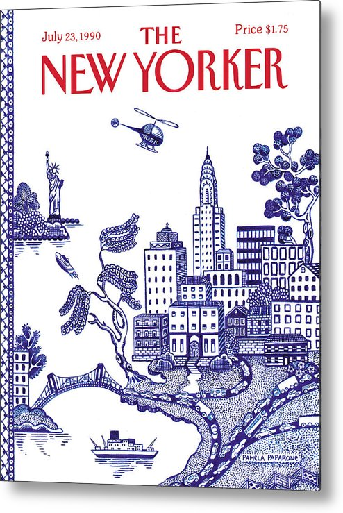 New York City Metal Print featuring the painting New Yorker July 23, 1990 by Pamela Paparone