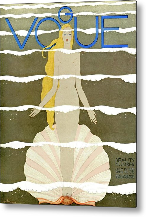 Illustration Metal Print featuring the photograph A Vintage Vogue Magazine Cover Of A Naked Woman by Georges Lepape