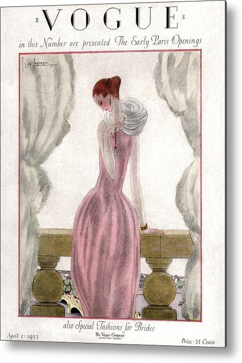 Illustration Metal Print featuring the photograph A Vogue Cover Of A Woman Wearing A Pink Dress by Georges Lepape