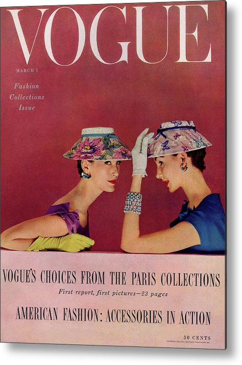 Fashion Metal Print featuring the photograph A Vogue Cover Of Models Wearing Lilly Dache Hats by Richard Rutledge