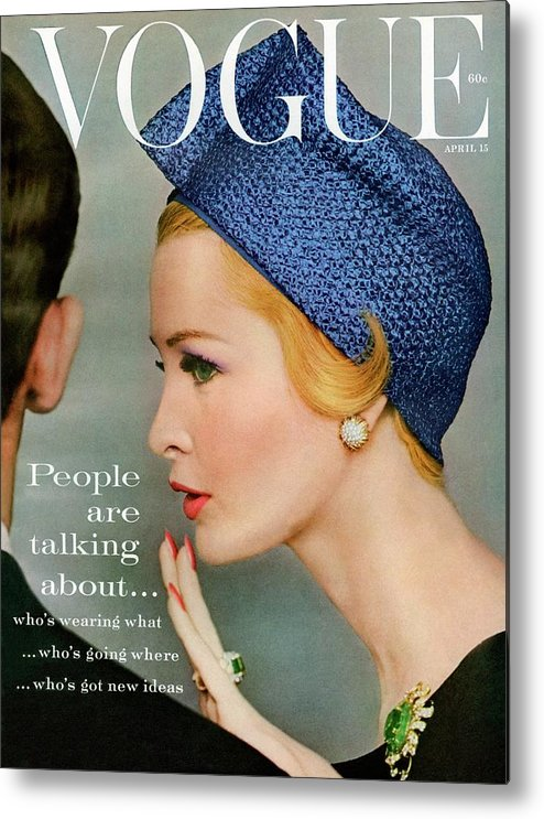 Fashion Metal Print featuring the photograph A Vogue Cover Of Sarah Thom Wearing A Blue Hat by Richard Rutledge