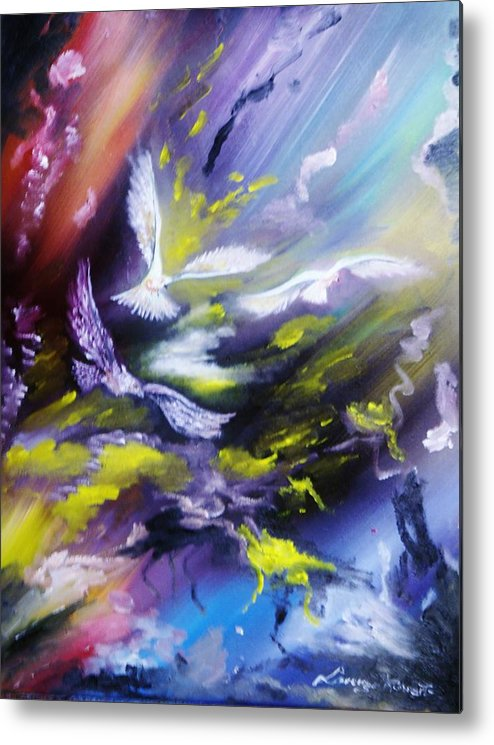 Abstract Metal Print featuring the painting Abstract Birds by Lorenzo Roberts