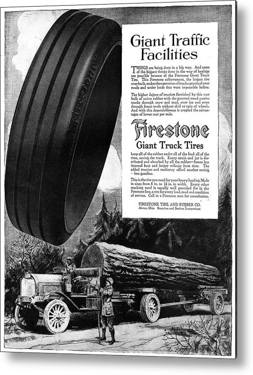 1918 Metal Print featuring the painting Ad Firestone, 1918 by Granger