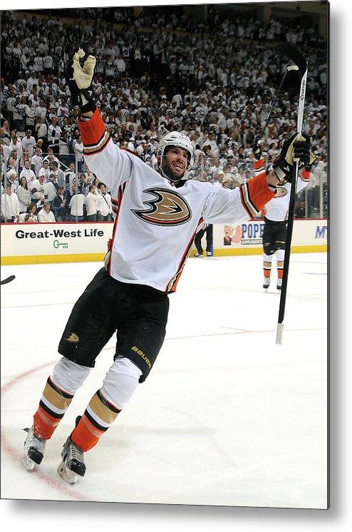 Playoffs Metal Print featuring the photograph Anaheim Ducks V Winnipeg Jets - Game by Lance Thomson