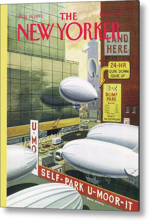 Blimps Metal Print featuring the painting Blimp Park by Bruce McCall