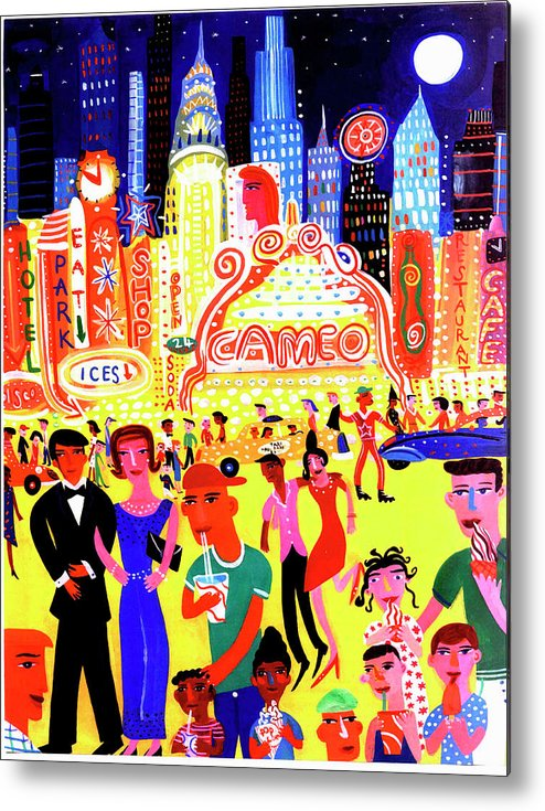 People Metal Print featuring the digital art Busy Nightlife In New York City, United by Christopher Corr