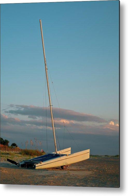 Outdoors Metal Print featuring the photograph Catamaran On Beach by Joseph Shields