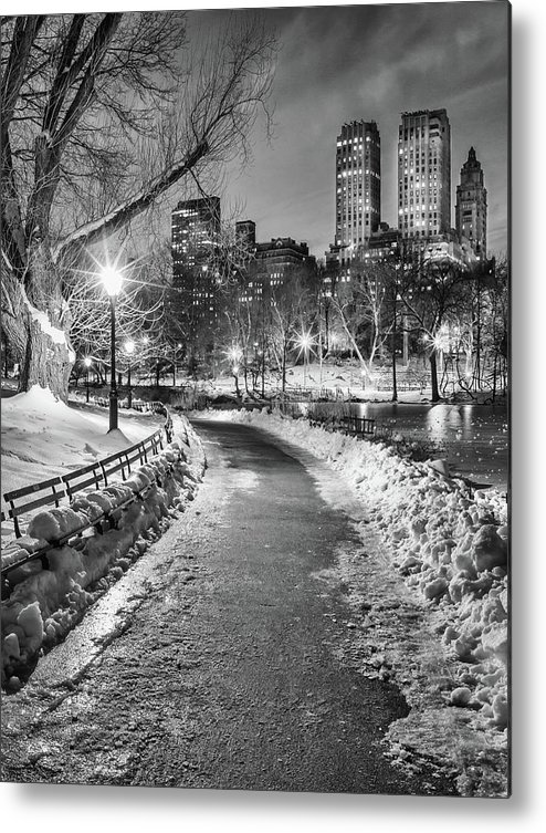 Snow Metal Print featuring the photograph Central Park Path Night Black & White by Michael Lee