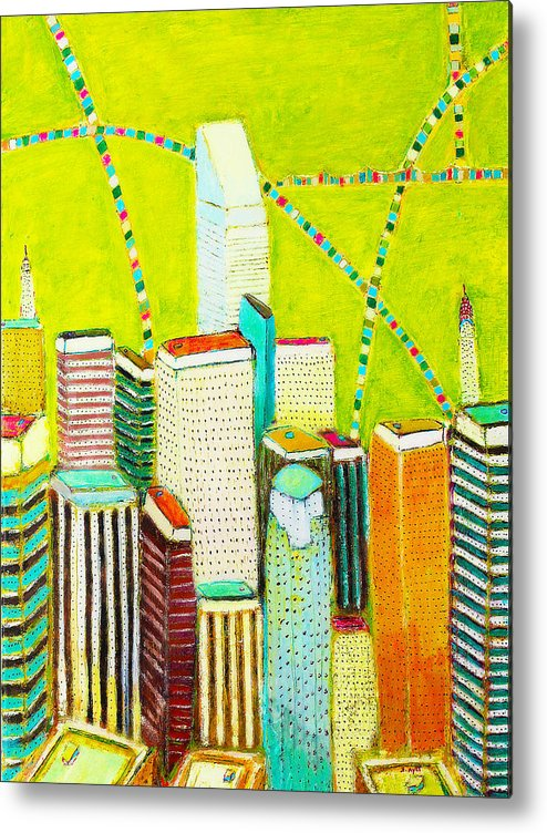 New York City Metal Print featuring the painting City With Green by Habib Ayat