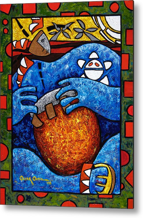 Puerto Rico Metal Print featuring the painting Conga on Fire by Oscar Ortiz