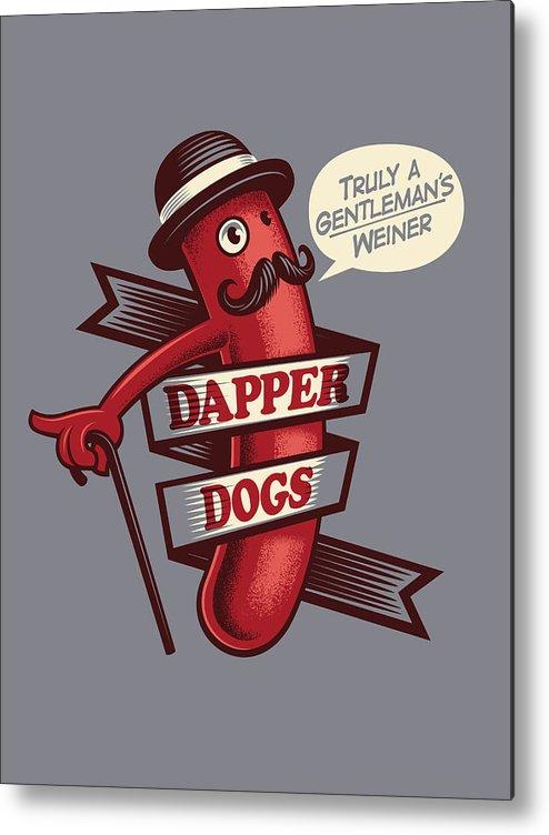 Walking Cane Metal Print featuring the digital art Dapperdogs by Leonryan.com