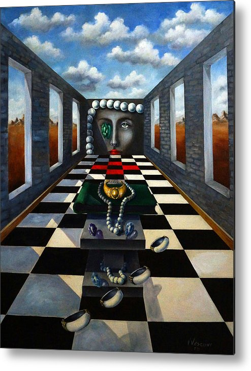 Surreal Landscape Metal Print featuring the painting Family Jewels by Valerie Vescovi