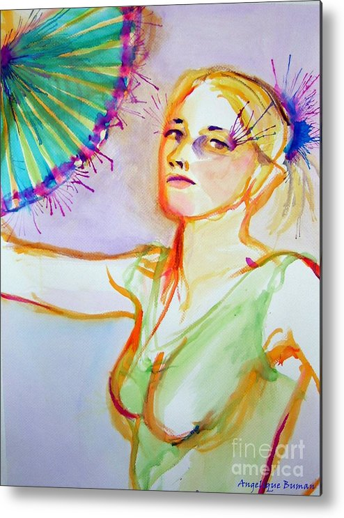 Fan Metal Print featuring the painting Fan Fetish by Angelique Bowman