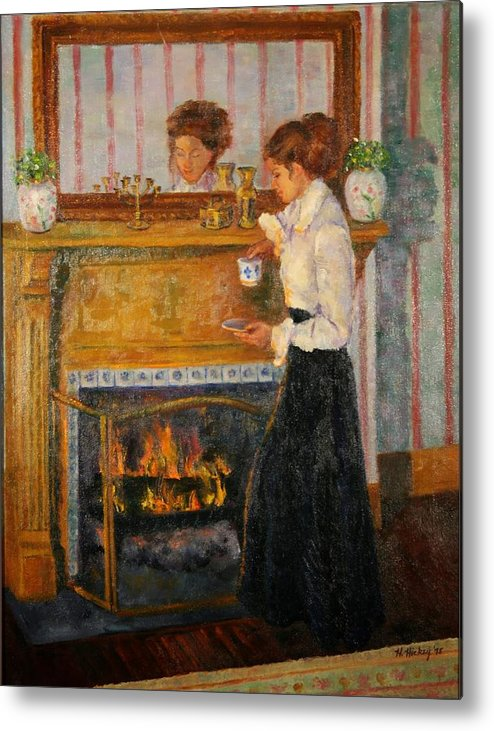 Metal Print featuring the painting Fireside by Helen Hickey