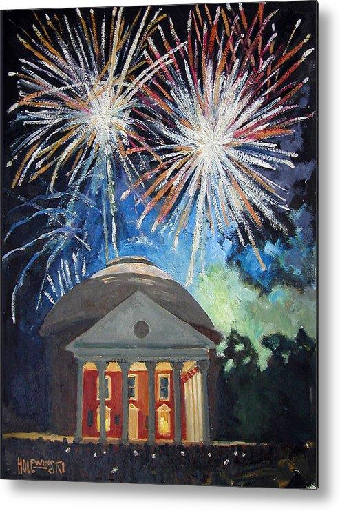 Rotunda. University. Virginia. Charlottesville. Fireworks. Metal Print featuring the painting Fireworks Over The Rotunda by Robert Holewinski