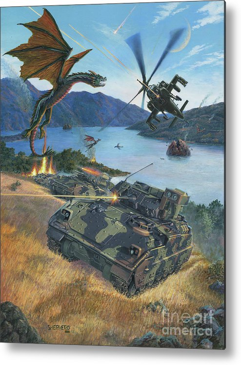 Dragon Metal Print featuring the painting First Wave - Clash at Pyramid Lake by Stu Shepherd