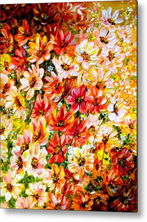 Abstract Daises Metal Print featuring the painting Floral Abstract by Karin Dawn Kelshall- Best