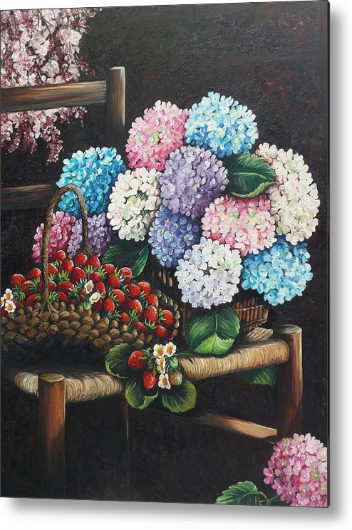 Hydrangea Paintings Floral Paintings Botanical Paintings Flower Paintings Blooms Hydrangeas Strawberries Paintings Red Paintings Basket Paintings Pink Paintings Garden Paintings  Blue Paintings  Greeting Card Paintings Canvas Paintings Poster Print Paintings  Metal Print featuring the painting From My Garden by Karin Dawn Kelshall- Best
