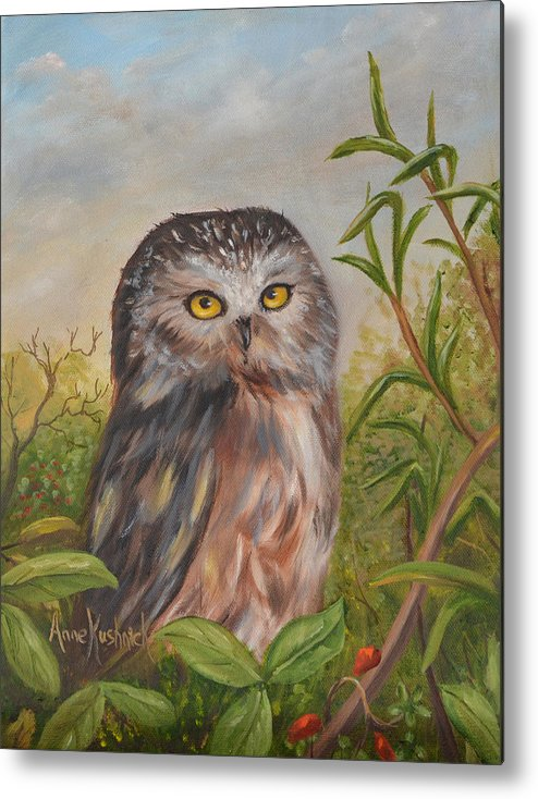 Owls Metal Print featuring the painting Fukuro by Anne Kushnick