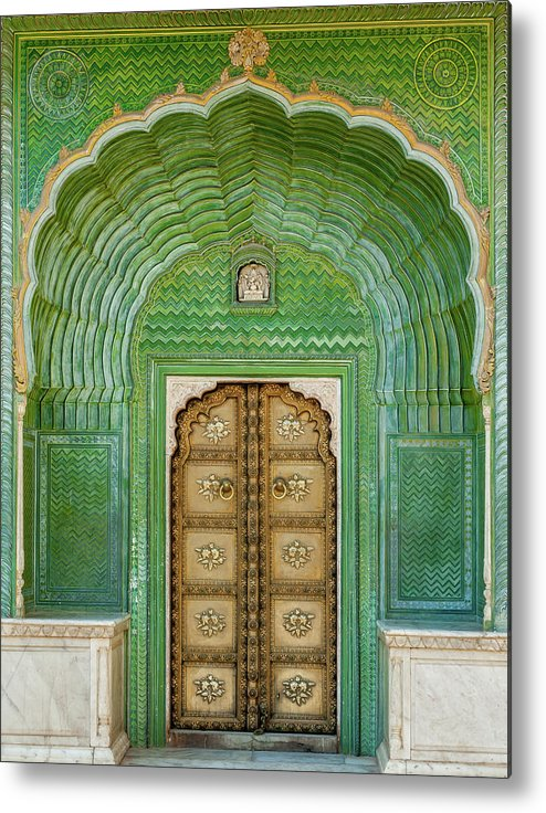 Arch Metal Print featuring the photograph Green Gate In Pitam Niwas Chowk by Hakat