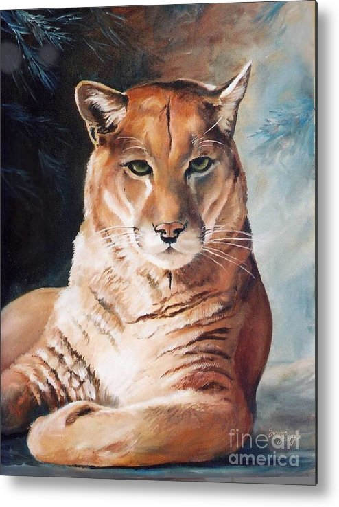 Cougar Metal Print featuring the painting Her Majesty by Suzanne Schaefer