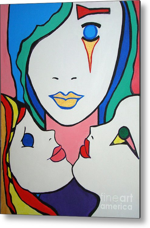 Pop-art Metal Print featuring the painting Innocence by Silvana Abel