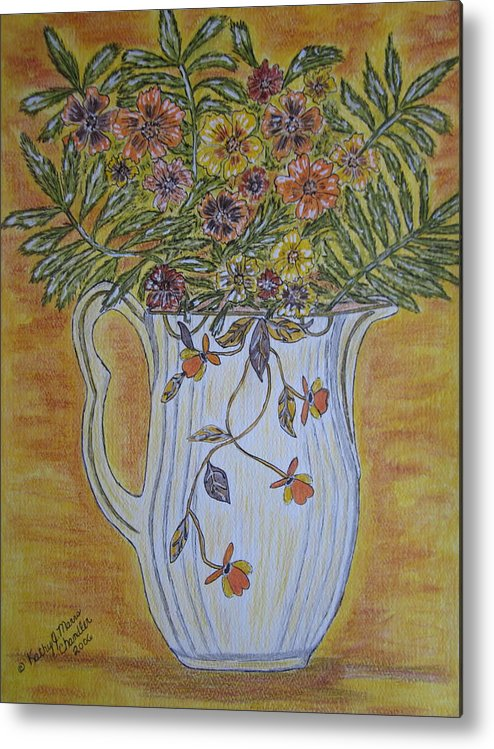 Jewel Tea Metal Print featuring the painting Jewel Tea Pitcher With Marigolds by Kathy Marrs Chandler