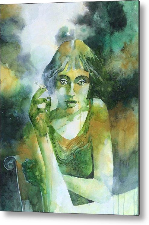 Girl Metal Print featuring the painting La ragazza che fumava gauloises by Alessandro Andreuccetti