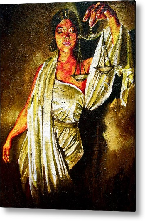 Law Art Metal Print featuring the painting Lady Justice Sepia by Laura Pierre-Louis