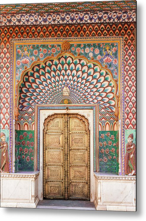 Arch Metal Print featuring the photograph Lotus Gate In Jaipur City Palace by Hakat