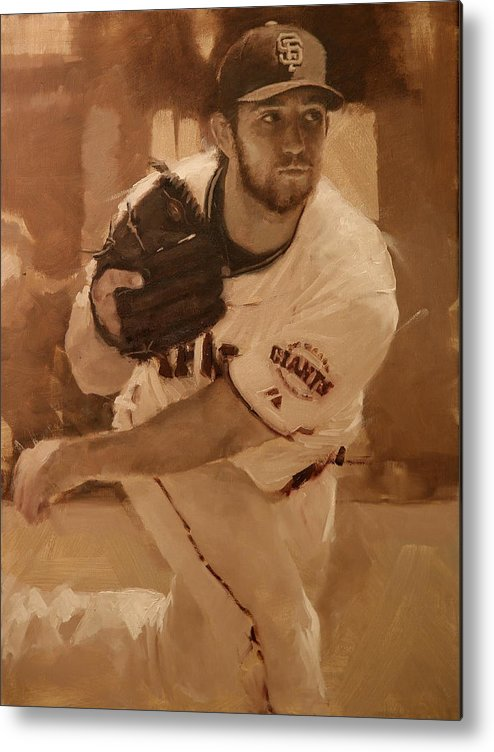 Madison Bumgarner Metal Print featuring the painting Madbum 2012 by Darren Kerr
