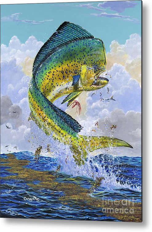 Dolphin Metal Print featuring the painting Mahi Hookup Off0020 by Carey Chen