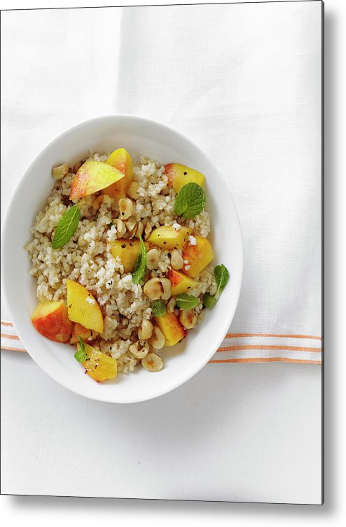 Temptation Metal Print featuring the photograph Minted Bulgur And Peach Salad by Iain Bagwell