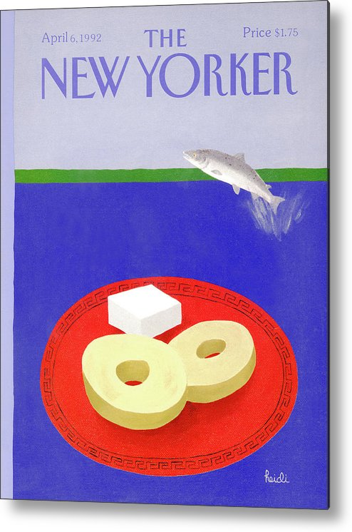 A Salmon Fish Jumps Out Of A Body Of Water Metal Print featuring the painting New Yorker April 6th, 1992 by Heidi Goennel