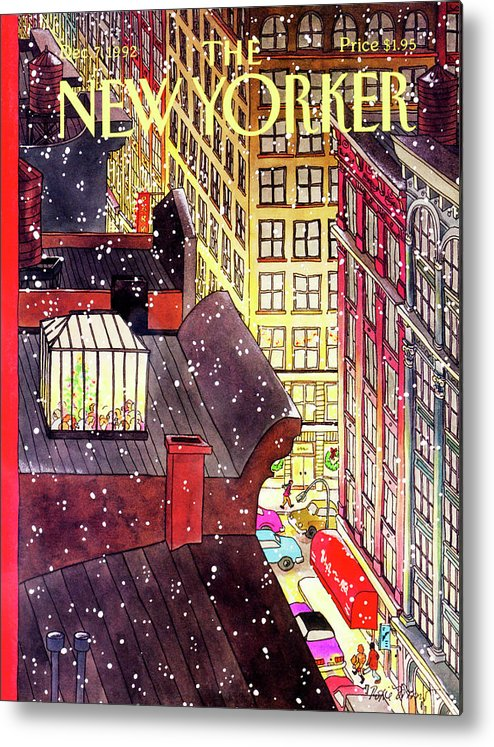 A Birds-eye View Of A Busy Shopping Evening Downtown. Snow Begins To Fall On The Rooftops Where One Sunroof Is Illuminated By A Crowd Gathered Around A Christmas Tree. Metal Print featuring the painting New Yorker December 7th, 1992 by Roxie Munro
