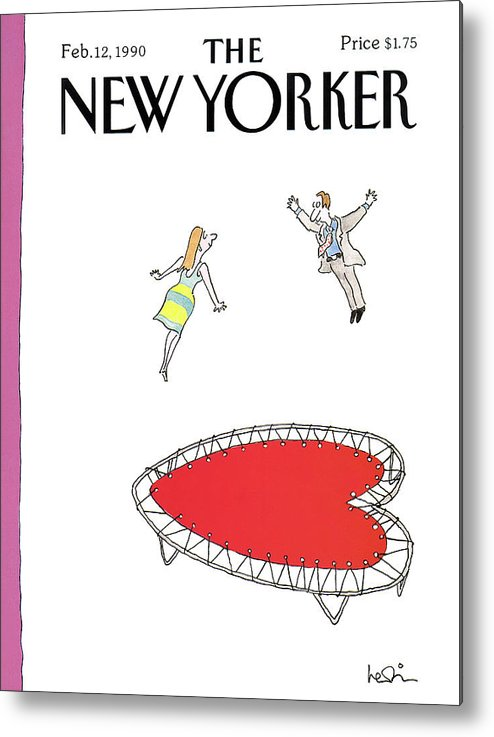 (a Man And A Woman Jump Towards Each Other On A Heart Shaped Trampoline.) Holidays Metal Print featuring the painting New Yorker February 12th, 1990 by Arnie Levin