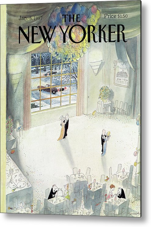 New Year Metal Print featuring the painting New Yorker January 5th, 1987 by Jean-Jacques Sempe