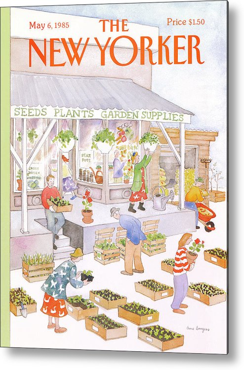 Garden Metal Print featuring the painting New Yorker May 6th, 1985 by Anne Burgess
