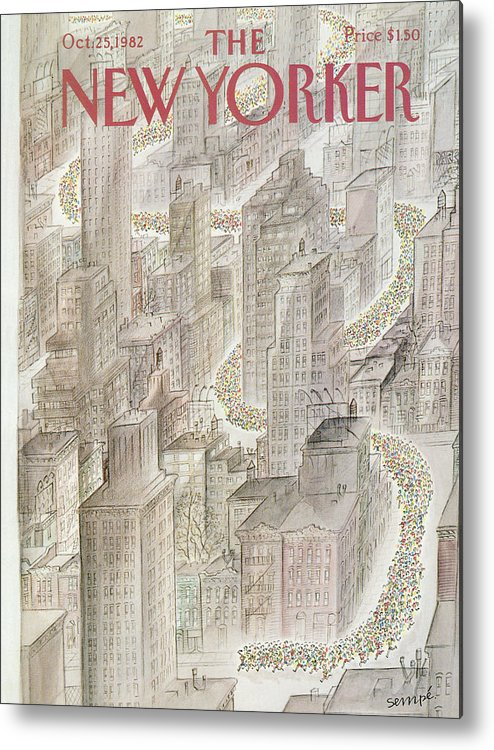 Marathon Metal Print featuring the painting New Yorker October 25th, 1982 by Jean-Jacques Sempe