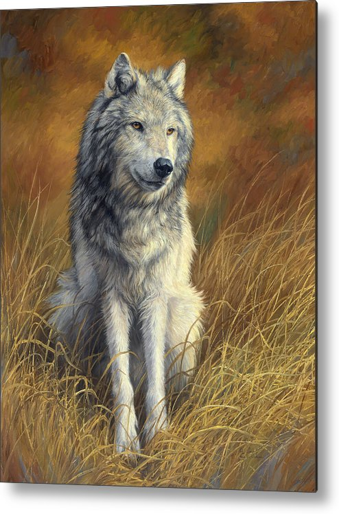 Wolf Metal Print featuring the painting Old and Wise by Lucie Bilodeau