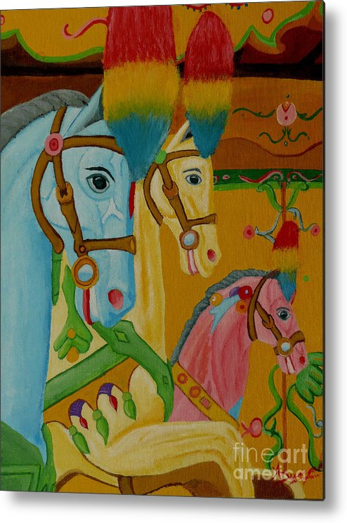Carousel Metal Print featuring the painting Painted Ponies by Anthony Dunphy