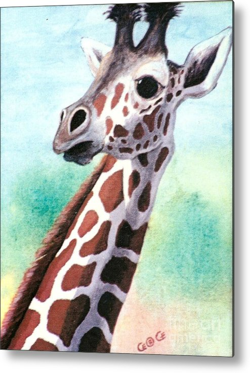 Giraffes Metal Print featuring the painting Que Pasa by George I Perez