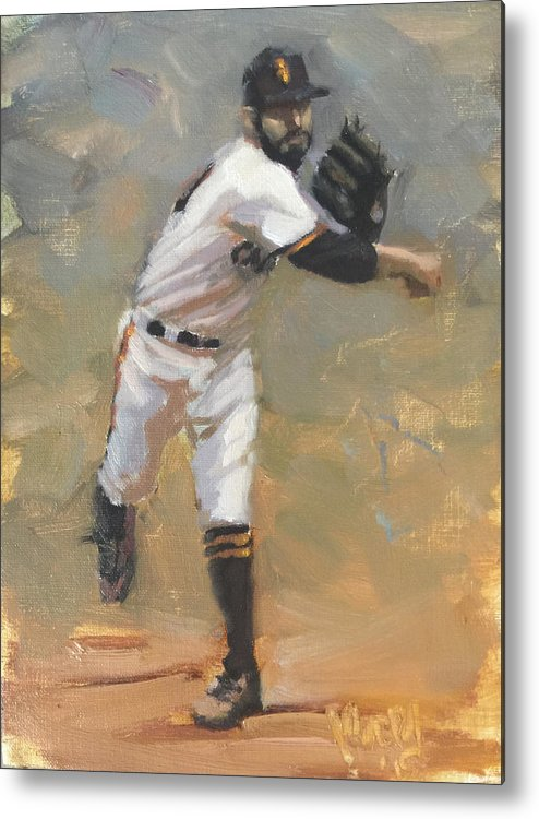 Sergio Romo Metal Print featuring the painting Romo Throw to First by Darren Kerr