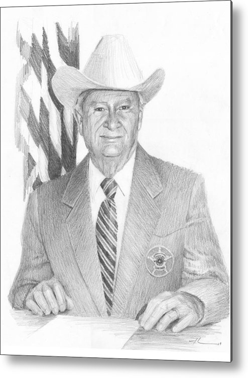 <a Href=http://miketheuer.com Target =_blank>www.miketheuer.com</a> San Diego Sheriff Pencil Portrait Metal Print featuring the drawing San Diego Sheriff Pencil Portrait by Mike Theuer