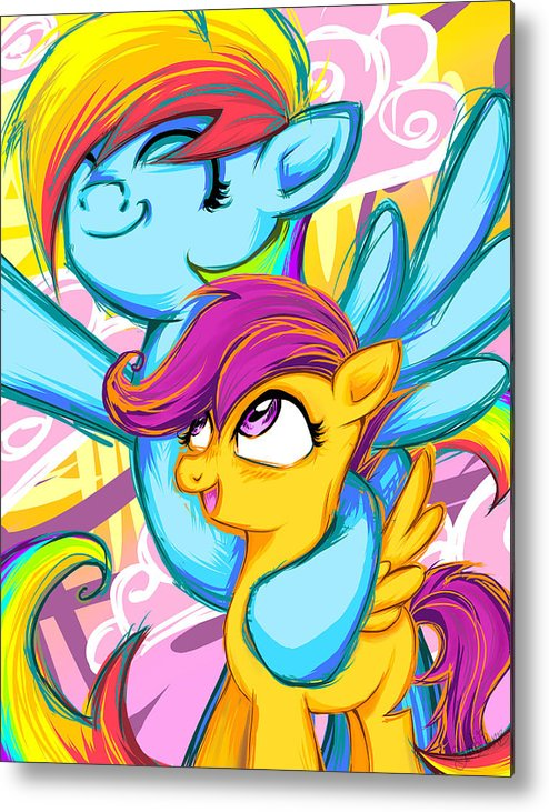 Scootaloo And Rainbow Dash Metal Print By Sarah Bavar However rainbow dash tells scootaloo that this is not as important as she thinks and that, regardless of whether she'll fly or not, she's still special in her own way. scootaloo and rainbow dash metal print