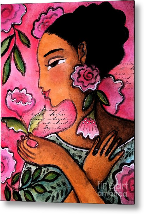 Figurative Metal Print featuring the mixed media She Loves Flowers by Elaine Jackson